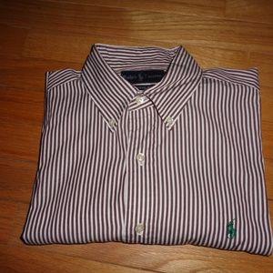 Ralph Lauren Polo Brown/White Striped Shirt